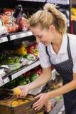 Prise blonde de sourire de travailleur légumes Photo stock