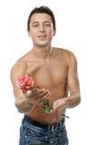 Prise d'homme une rose. photos stock