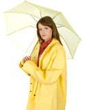 Prise de Brunette sur un parapluie Photographie stock