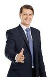 Prise de contact amicale d'homme d'affaires photo stock