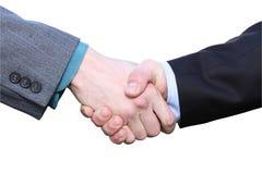 Prise de contact de deux mains d'hommes d'affaires d'isolement sur le blanc Images libres de droits
