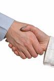 Prise de contact entre l'homme d'affaires et la femme d'affaires Images stock