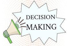 Prise de décision des textes d'écriture de Word Concept d'affaires pour l'acte de la décision entre deux possibilités ou plus illustration stock