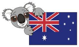 Prise de koala dans des ses pattes un drapeau illustration de vecteur