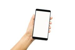 Prise de main de femme et mobile de contact images libres de droits