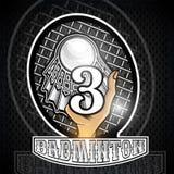 Prise de main volanchic avec la raquette et le numéro trois au centre Logo de sport pour toute équipe de badminton illustration de vecteur