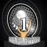 Prise de main volanchic avec la raquette et le numéro une au centre Logo de sport pour toute équipe de badminton illustration stock