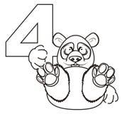 Prise de panda de coloration dans des ses pattes un numéro 4 Images libres de droits
