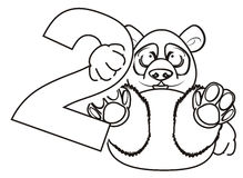 Prise de panda de coloration dans des ses pattes un numéro deux illustration libre de droits
