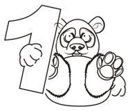 Prise de panda de coloration dans des ses pattes un numéro un illustration stock