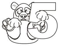 Prise de panda de coloration un symbole cinq Photographie stock