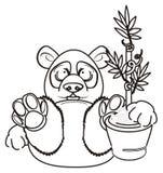 Prise de panda de coloration une usine illustration libre de droits