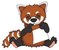 Prise de panda rouge une peu de paix de papier Images stock