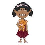 Prise de petite fille un ours et une bande dessinée de cri illustration de vecteur