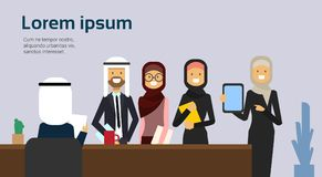 Prise de recrutement un candidat bien choisi d'homme d'affaires de lettre d'entrevue de support arabe de groupe de personnes derr illustration de vecteur