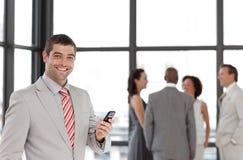 prise de téléphone d'homme d'affaires Image libre de droits
