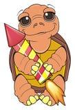 Prise de tortue dans des ses pattes une raquette illustration stock