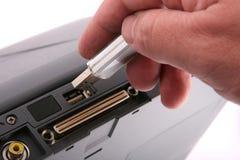Prise des données outre d'un ordinateur portatif. Photo libre de droits