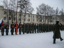 Prise du serment dans l'unité militaire russe dans la région de Kaluga photographie stock