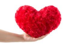 Prise rouge de coeur en main Photographie stock
