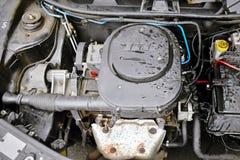 Prisecnice, Tsjechische republiek - 28 Juli, 2013: beschadigde motor van Fiat Punto na waterexplosition Royalty-vrije Stock Fotografie