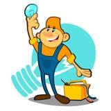 Prises électriques une ampoule, profession, personne Images libres de droits