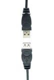 Prises d'USB d'isolement sur un fond blanc Photos stock