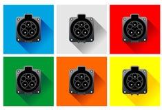 Prises de chargeur de couleur de voiture électrique Images libres de droits