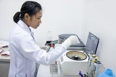 Prises de sang examinées dans le laboratoire Photographie stock