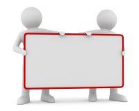 Prises pour deux hommes l'affiche dans une main Image libre de droits