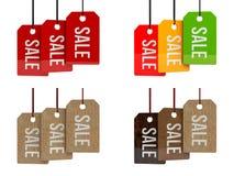 Prisetiketter försäljning Sale affisch Sale etikett på hängande etiketter för färg illustration 3d Arkivfoton