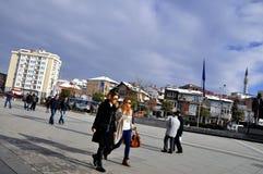 Prishtina square, Kosovo. Ordinary day in Prishtina, the capital of Kosovo Stock Photo