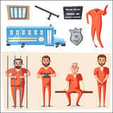 Prisión con el preso Diseño de carácter Ilustración del vector de la historieta stock de ilustración