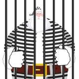 Prisión de Santa Claus en traje rayado Ventana en la prisión con las barras Imagen de archivo libre de regalías