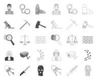 Prisión y el mono criminal, iconos del esquema en la colección determinada para el diseño Web de la acci?n del s?mbolo del vector ilustración del vector