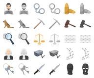 Prisión y la historieta criminal, iconos del monochrom en la colección determinada para el diseño Acción del símbolo del vector d stock de ilustración