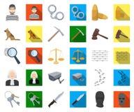 Prisión y la historieta criminal, iconos planos en la colección determinada para el diseño Web de la acción del símbolo del vecto ilustración del vector