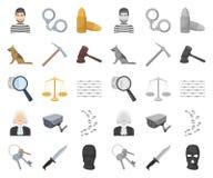 Prisión y la historieta criminal, mono iconos en la colección determinada para el diseño Web de la acción del símbolo del vector  libre illustration
