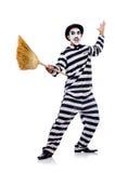 Prisioneiro com vassoura fotografia de stock royalty free