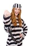 Prisioneiro em uniforme listrado Fotos de Stock Royalty Free