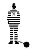 Prisioner with ball illustration in black and white Stock Photos