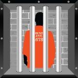 Prisioner in der Zellkunstillustration Lizenzfreie Stockfotos