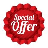 Prislapp för specialt erbjudande. Röd rund stjärnaklistermärke. stock illustrationer