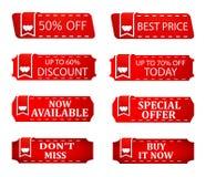 Prislappar för baner för Sale rabattsakkunniga, lagererbjudande, varm symbol för säsongsbetonade försäljningar Royaltyfri Bild