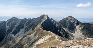Prislop, Banikova and Pachola from Hruba kopa peak in Western Tatras mountains in Slovakia. Prislop on the left, Banikov on the middle and Pachola on the right stock photos