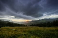 Prislop Pass. Storms at sunset seen from Prislop Pass Royalty Free Stock Images