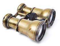 Prismáticos de cobre amarillo antiguos Foto de archivo libre de regalías