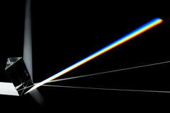 Prism. Splitting white light into a spectrum on a black background royalty free stock photos