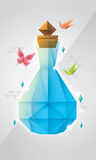 Prism bottle design. This work got inspiration from prism, origami, and bottle form Royalty Free Stock Images