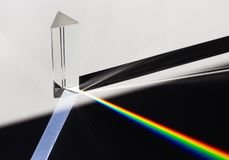 A prism dispersing sunlight splitting into a spectrum on a white background. A prism dispersing sunlight splitting into a spectrum on a white background Royalty Free Stock Image
